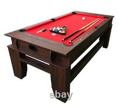 2 in 1 7Ft Red Pool Table Billiard become an Air Hockey Table with accessories