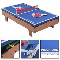 4-In-1 Swivel Combo Game Table Kids Pool Air Hockey Ping Pong Football Sports