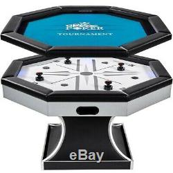 4-Player Air Hockey and Poker Game Multi-Game Table w LED Scorer + Sound Effects