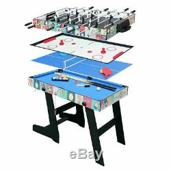 4-in-1 Game Table with Pool Billiard Slide Hockey Foosball and Table Tennis