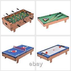 4 in 1 Multi Game Swivel Table Set Billiards/Pool, Foosball, Air Hockey, Tennis