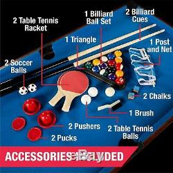 54 Inch 4-in-1 Combo Table Pool Foosball Table Tennis Billiards Air Hockey NEW