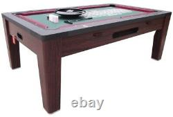 6 in 1 COMBO GAME TABLE POOLAIR HOCKEYPING PONGROULETTEPOKERDINING WALNUT