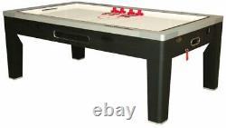 6 in 1 COMBO GAME TABLEPOOLAIR HOCKEYPING PONGROULETTEPOKERDINING in BLACK