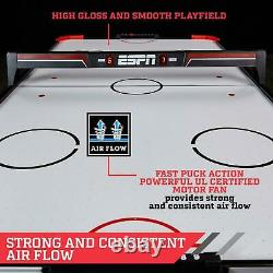 60 Air Hockey Game Table LED Overhead Electronic Scorer Quick Assembly Red/Blk