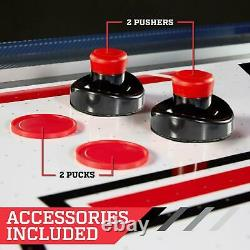 60 Inch Air Powered Hockey Table With Overhead Electronic Scorer Blue Red