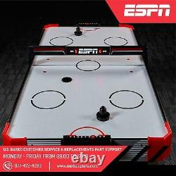 60Air Hockey Game Table, LED Overhead Electronic Scorer, Quick Assembly Red/Black