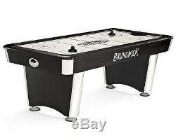 7' Brunswick AIR HOCKEY TABLE + 2 Mallets 4 Puck Bundle Silver + Black WARRANTY