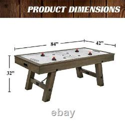 7 Heavy Duty Air Hockey Game Table, Brown Rustic Furniture For Kids & Adults