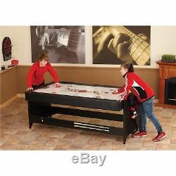 7ft Billiard Table Set Pool Cue Ball Drop Pockets Chalk Air Hockey Ping Pong Net
