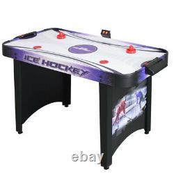 AIR HOCKEY GAME TABLE 4 Ft Purple Black Strikers Pucks Manual Analog Scoring
