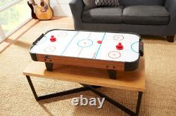 AIR HOCKEY GAME TABLE 40-Inch Portable Tabletop Brown Accessories Included