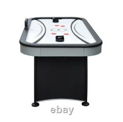 AIR HOCKEY GAME TABLE 6 Ft. Electronic Scoring Black Gray Accessories Included