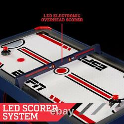 AIR HOCKEY TABLE 60-Inch Air Powered LED Scorer Accessories Included Blue Red