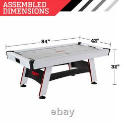 AIR HOCKEY TABLE 84 Air Powered Inlaid LED Scorer Accessories Included White