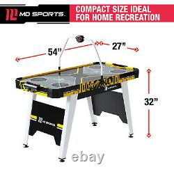 Air Hockey Game Table 54 Inch Overhead Electronic Scorer Black Yellow Solid Mdf