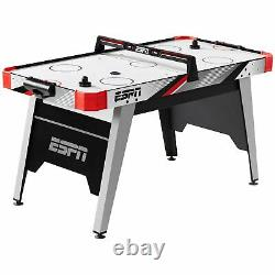 Air Hockey Game Table, LED Overhead Electronic Scorer, Quick Assembly, Red/Black