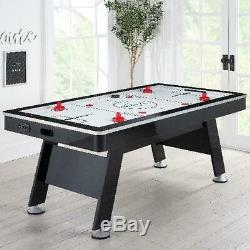 Airzone Air Hockey Table Game 80 Black Chrome Play Indoor with High End Blower