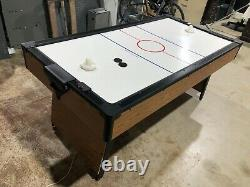 Antique Air Hockey Table Wood Accents Good Condition Made in USA