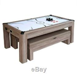 Carmelli Driftwood 7 Ft Air Hockey Table Combo Set with Benches NG1137H