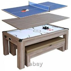 Combo Game Table Brown 7ft Air Hockey with Table Tennis Conversion Top 2 Benches