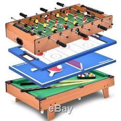 Costway 4 In 1 Multi Game Air Hockey Tennis Football Pool Table Billiard Swivel