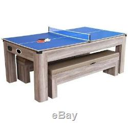 Driftwood NG1137H 7-ft Air Hockey Table Tennis Ping Pong Combo Set with Benches