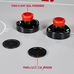 ESPN 84 Glacier Arcade Air Hockey Game Table, Inlaid Electronic Scorer, White/R