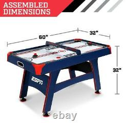ESPN Air Hockey Table, Overhead Electronic Scorer, Blue/Red 60 size Air Powered
