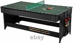 Fat Cat 3-in-1, 7' Pockey Table Game, Blue Billiards, Air Hockey, T. Tennis