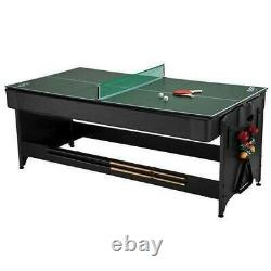 Fat Cat Original 3-in-1, 7-Foot Flip Game Table Air Hockey, Billiards and Table