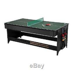 Fat Cat Pockey 7 Feet Black 3-in-1 Air Hockey, Billiards with Burgundy Felt