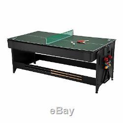 Fat Cat Pockey 7-Ft 3-in-1 Air Hockey, Billiards with Blue Felt, & Table Tennis