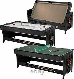 Fat Cat original Pockey 7ft Black 3-in-1 Air Hockey, Billiards, and Table Tennis