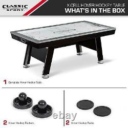 Hover Hockey Air Powered Table LED Scoring Sound Automatica Light Classic Sports