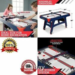 Kids Hockey Table Home Game Air Powered Overhead Electronic Scorer Blue LED 60