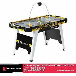 MD Sports 54 Air Hockey Table, Overhead Electronic Scorer, Black/Yellow