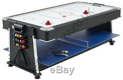 Mightymast 7ft REVOLVER 3-In-1 Pool Air Hockey Table Tennis