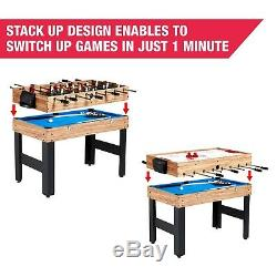 Mini Pool Table Air Hockey Kids Soccer Table 3-In-One Gaming Table 48 sports