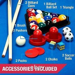 Multi Game Table Combo 3 In 1 Pool Billiards Air Hockey Foosball Soccer Ball