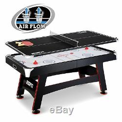 NEW! ESPN 72 INCH AIR Powered Hockey Table with Table Tennis Top In-Rail Scorer