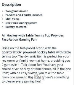 NIB sportcraft 66 inch air powered hockey table with bonus tennis top