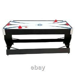 PUCK Cyclone 6-Foot 3-in-1 Multi Game Air Hockey/Billiard Table