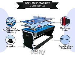 PUCK Typhon 6-Foot 3-in-1 Multi Game Swivel Pool/Air Hockey Table