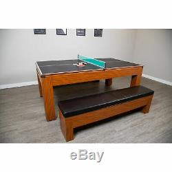 Sherwood 7-ft Air Hockey Table with Benches Cherry