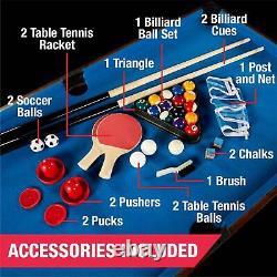 Sports 54 4 in 1 Game Table, Pool, Foosball Tennis Billiards Air Hockey Fun NIB