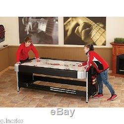 Table Billiards Air Hockey Game Table 2 in 1 Pool 7 Foot Black Home Room New