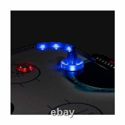Triumph Air Hockey Table Led Light Up 54 Pushers Puck Adjustable Leg Blue Black